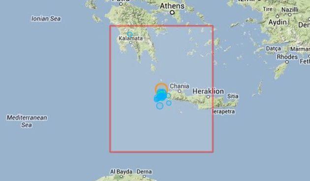 Potres jačine 6,4 stupnja pogodio grčki otok Kretu, foto: EMSC