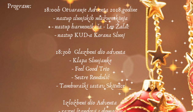 plakat Advent u Slunju 2018