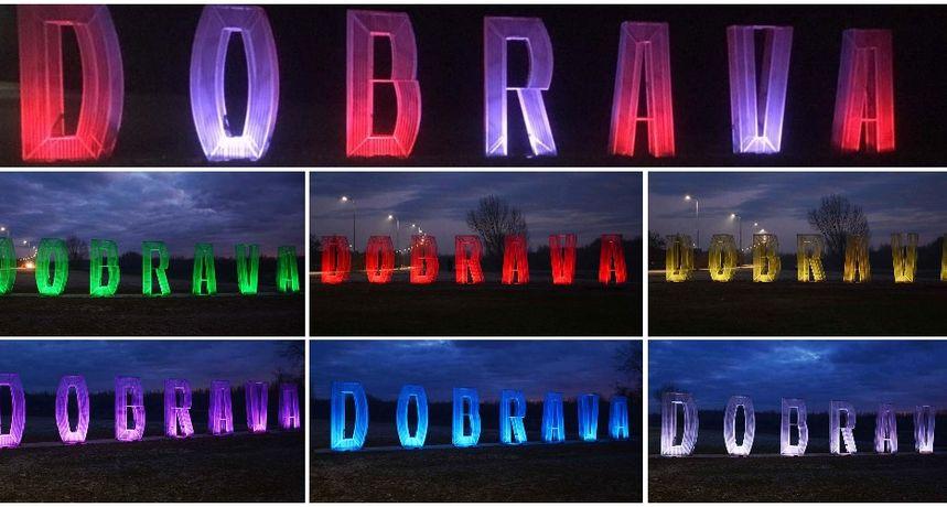 LED RASVJETA Atrakcija na ulazu u Donju Dubravu: Natpis 'Dobrava' osvijetljen u svim bojama