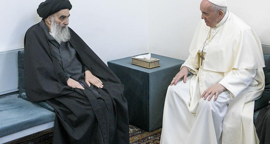 U najriskantnijem putovanju u svom mandatu, papa se susreo sa šijitskim duhovnim vođom koji rijetko održava sastanke