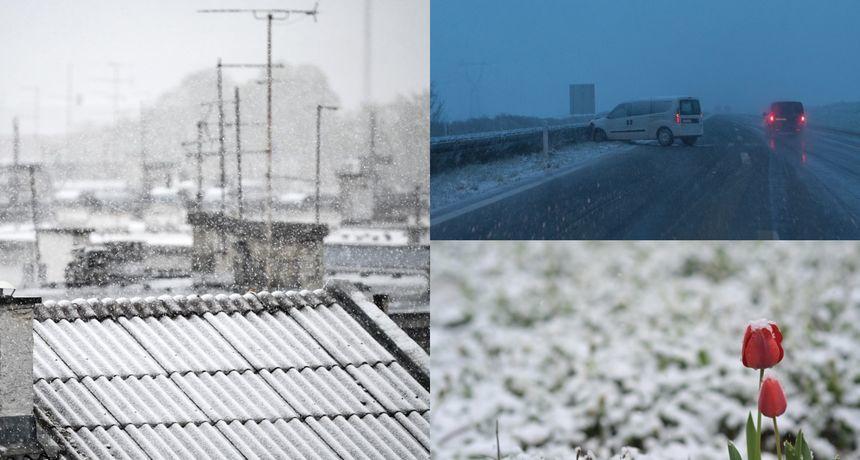 Stigla hladna fronta! U Karlovcu pada snijeg, iz HAK-a poručuju: 'Ne krećite na put bez zimske opreme'