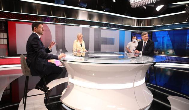 Andrej Plenković i Davor Bernardić na RTL-u trenutak prije sučeljavanja