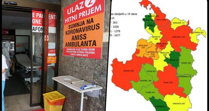 Novih 55 slučajeva zaraze u Karlovačkoj županiji, preminule tri osobe - sedam osoba nalazi se na respiratoru