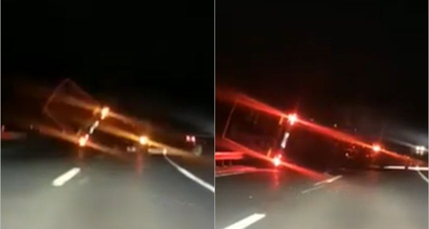 VIDEO Nije izdržao udare: Pogledajte kojom je silinom bura prevrnula kamion na autocesti!