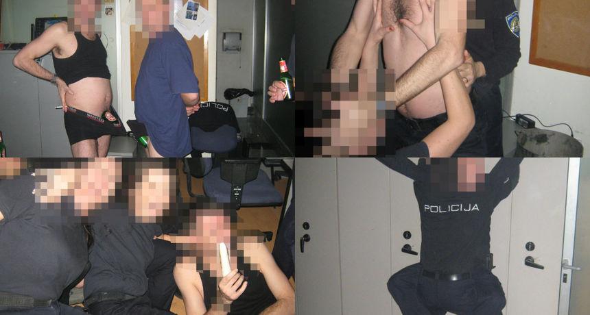 FOTO/VIDEO Policajci na tulumu u postaji u Kaštelima: Diraju se dildom, simuliraju seks, mačuju pivama u gaćama...