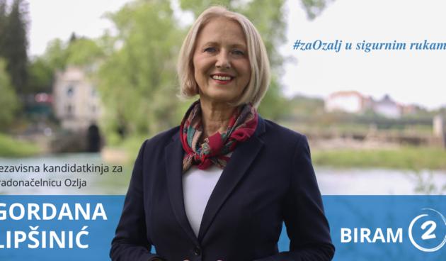 Gordana Lipšinić, kandidatkinja za gradonačelnicu Ozlja: Nudim grad neovisan o političkim elitama i opciju koja je provjerena - provjereno dobra!