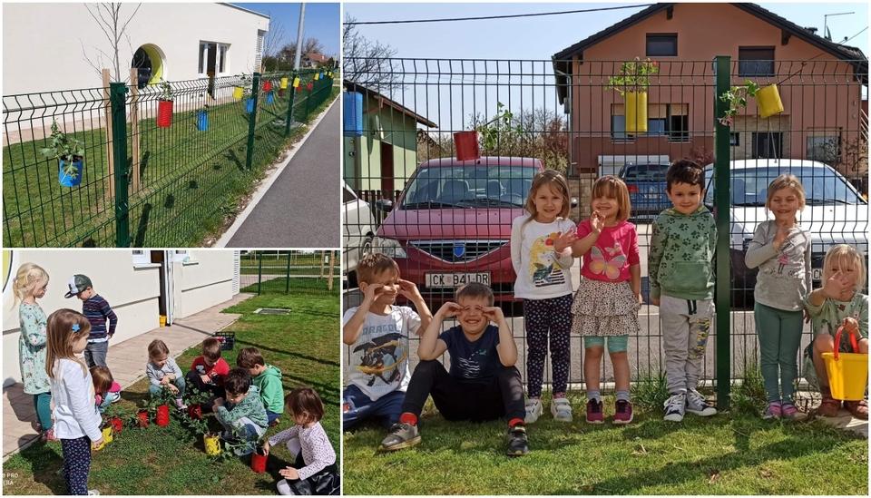 Mališani Dječjeg vrtića Maslačak iz Murskog Središća ukrasili dvorišnu ogradu cvijećem