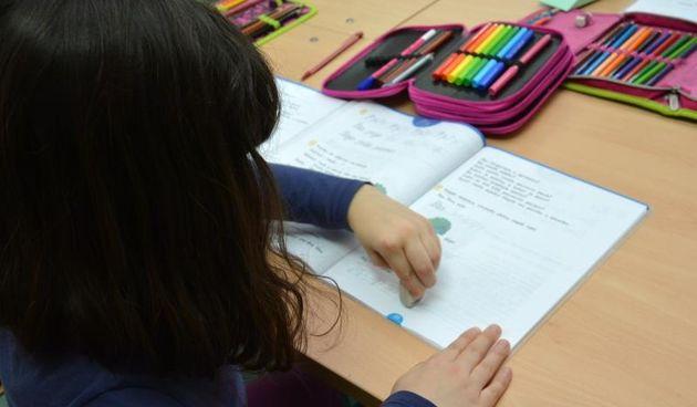Djeca pisu u biljeznicu, jer svim je skolarcima domaca zadaca, ucenje pisanja i ispunjavanje radnih biljeznica svakodnevna obveza. Photo: Damir Spehar/PIXSELL
