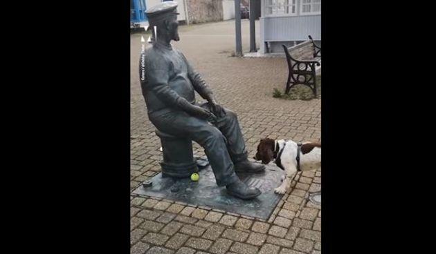 Preslatki psić baca lopticu kipu, njegova reakcija svaki put raznježi tisuće na mrežama