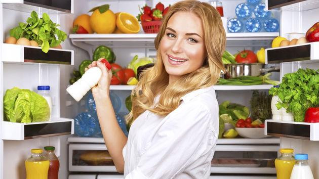 hladnjak, žena, hrana