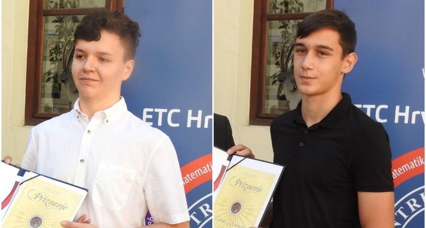 Učenici Prve gimnazije Emanuel Tukač i Bruno Kosmačin nagrađeni za uspjehe iz informatike