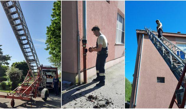 OŠ DONJI KRALJEVEC Vatrogasci pomogli domaru škole u održavanju žlijebova i krova školske zgrade