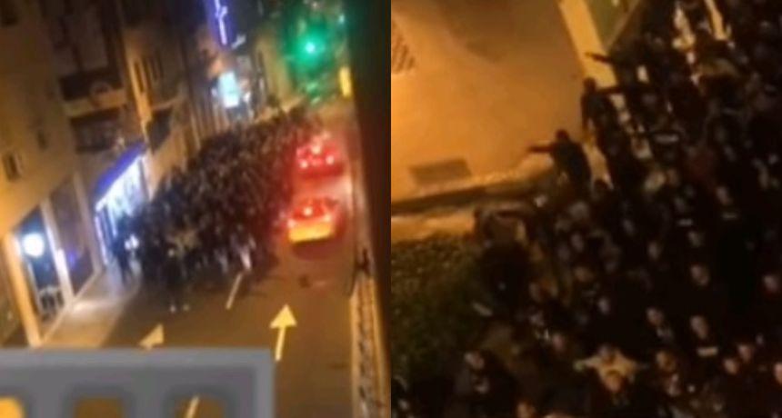 Snimka iz Splita u kojem se sinoć skandiralo: 'Mi Hrvati ne pijemo vina nego krvi četnika iz Knina'