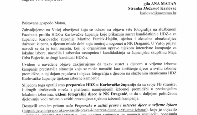 Pravobraniteljica za djecu: Posjet HDZ-ovki i fotografiranje s djecom u NK Draganiću je nedopušteno korištenje djece u izbornoj kampanji