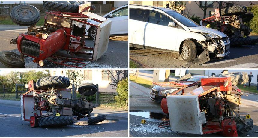FOTO Krš i lom na cesti u Prelogu: Sudarili se traktor i auto, vozač traktora zbog ozljeda prevezen u bolnicu