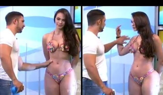 Model Rages On Live TV After Host Gets Handsy While Applying Lotion (thumbnail)