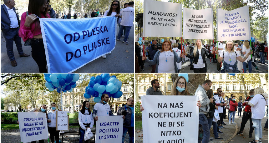 FOTO Prosvjed medicinskih sestara i tehničara: 'Nedavno nam se pljeskalo, sada nas se ucjenjuje'