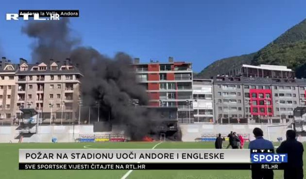 Požar zahvatio stadion na kojem trebaju igrati Andora i Engleska (thumbnail)