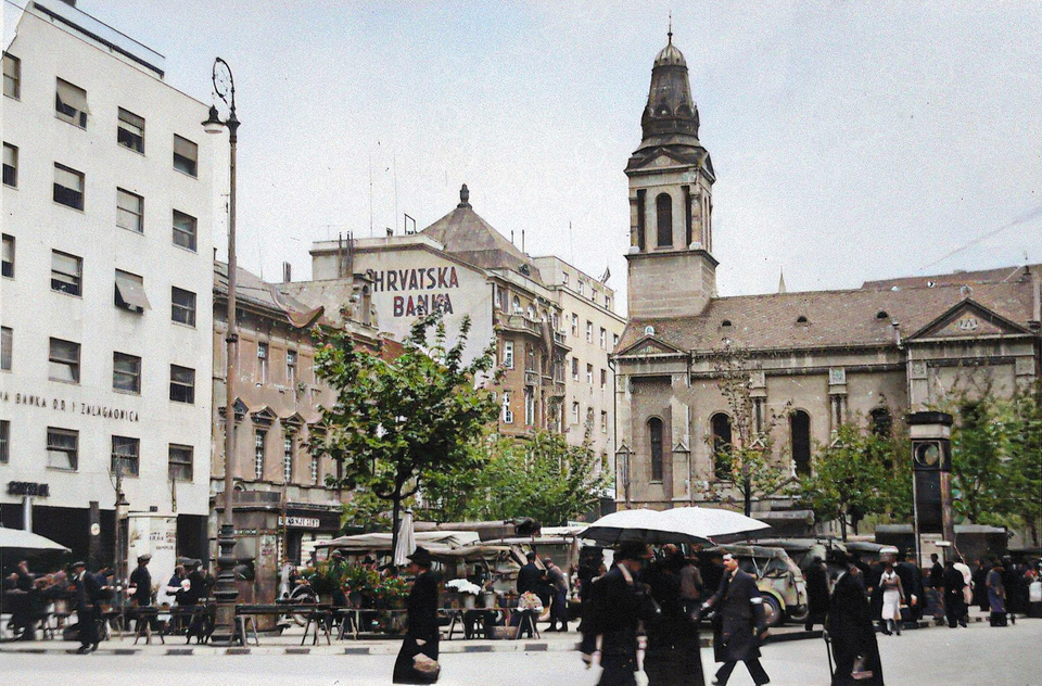 Preradovićev trg, 1941. (kolorizirano)