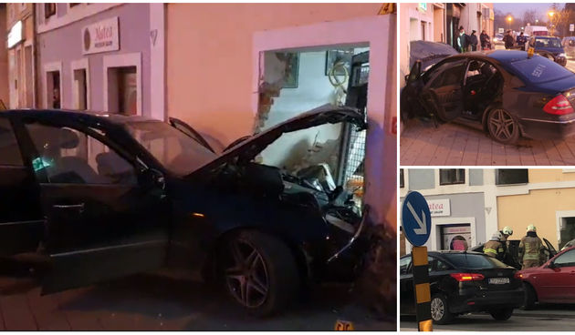 Središtem Karlovca dilvljali Mercedesom pa se zabili u kuću: Razbježali se pred policijom