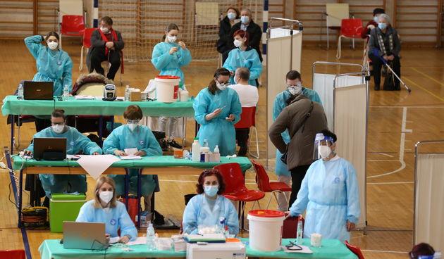 Cijepljenje u dvorani Graditeljske škole u Čakovcu