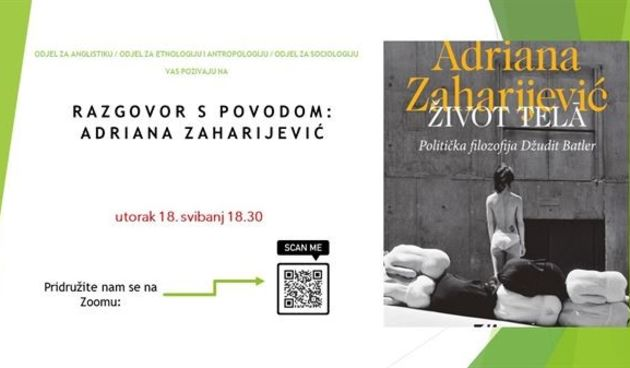 "Predstavljanje knjige Andriane Zaharijević ""Život tela. Politička filozofija Džudit Butler"""