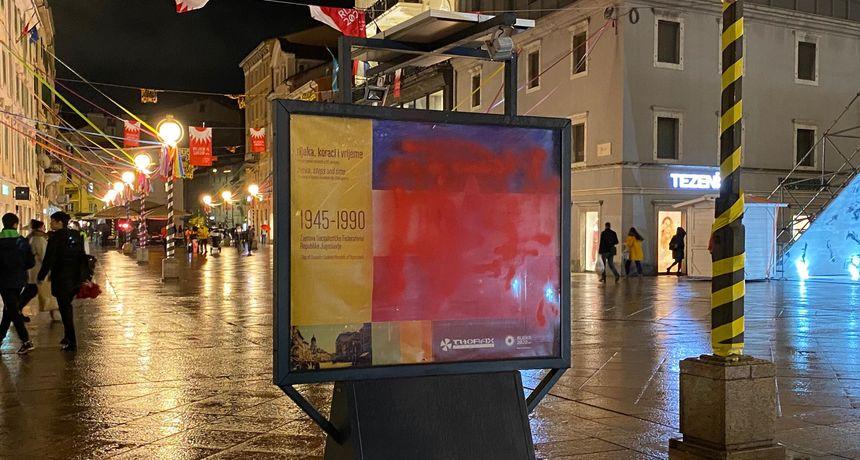 Sabotaža EPK instalacije! Crvenom bojom premazana zastava jedne od bivših država u kojima je bila Rijeka!