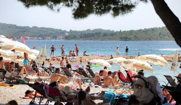 plaža, turisti