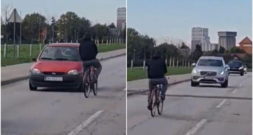 ŠOKANTNE SNIMKE Vozio se po sredini ceste, vozači ga jedva izbjegli. Maltretirao je i prolaznike