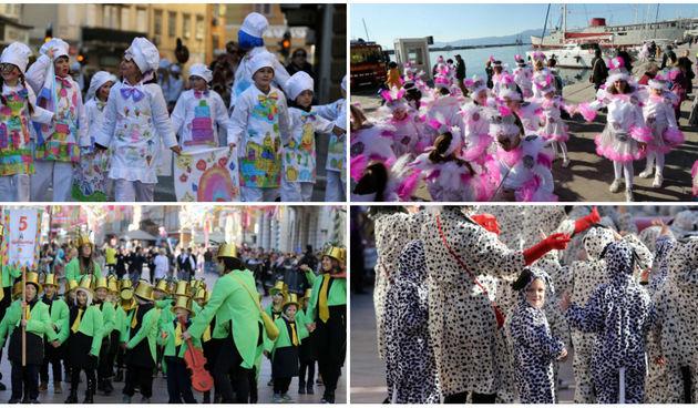 Šarenilo u srcu Rijeke: Više od 2500 mališana sudjelovalo je u karnevalskoj povorci