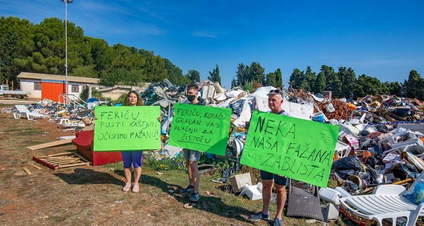 Prosvjed zbog smeća u Fažani: 'Sportska igrališta postala su nelegalna odlagališta otpada. Plaže su prljave!'