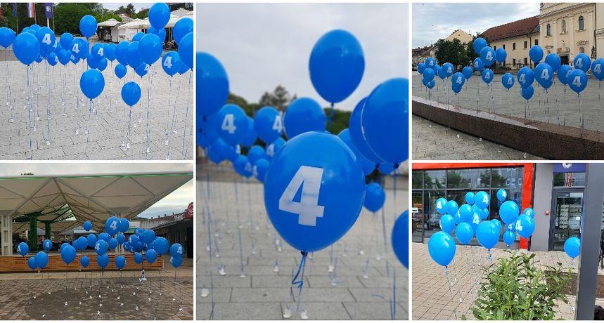 ČAKOVEC U PLAVOM Grad su preplavili plavi baloni s brojem 4
