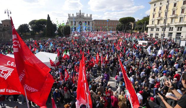 Sindikalni protest u Rimu, 16.10.2021.