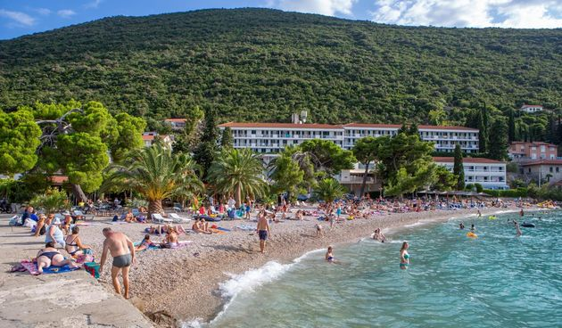 hotel, ljeto, more, turisti, plaža