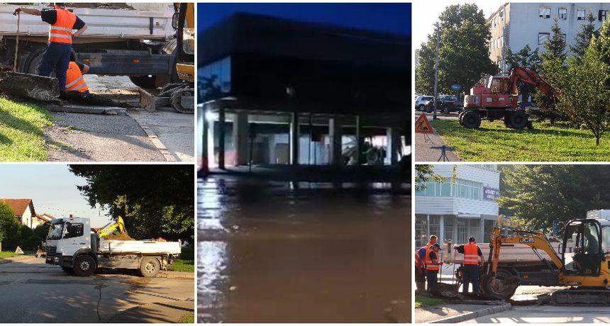 FOTO Vodena bujica poplavila čakovečki Jug, vrijedni radnici cijelu noć sanirali kvar