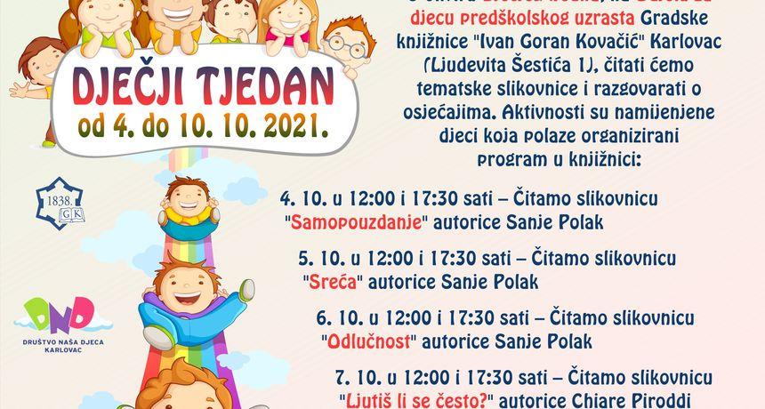 Uz Dječji tjedan u Gradskoj knjižnici Ivana Gorana Kovačića svaki dan čitaonica slikovnica na temu osjećaja