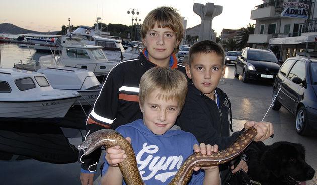 Enriko, Dino i Borna ponosno su setali Vodicama pokazujuci svima da su ulovili ribu Murinu. (Foto:Marija Mihic / CROPIX)