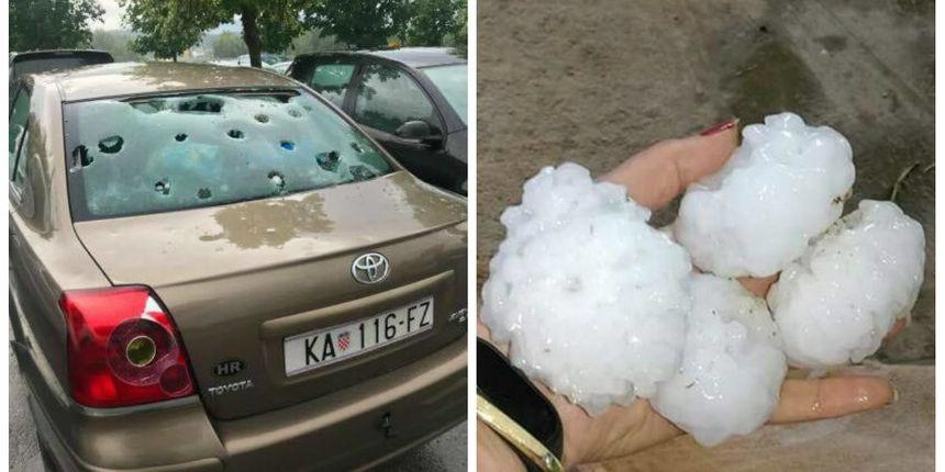 FOTO, VIDEO Veliko nevrijeme: Tuča veličine teniske loptice porazbijala aute!