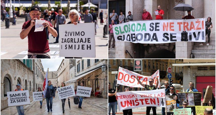 OPET PROSVJEDI Protivnici maski i mjera bunili se diljem Hrvatske